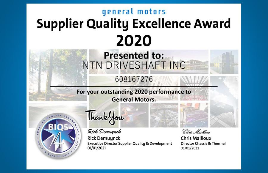2020 General Motors Supplier Excellence Award Certificate for NTN Driveshaft